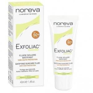 Noreva Exfoliac Matifying Suncare Fluid SPF 50+ Αντιηλιακή Κρέμα Προσώπου πολύ υψηλής προστασίας, με λεπτόρρευστη υφή, 40ml