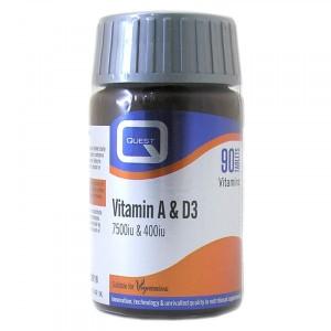 Quest Vitamin A & D3 (7500 IU & 400 IU) Συμπλήρωμα Διατροφής 90 tabs