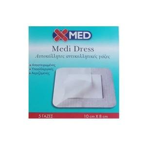 MEDISEI - X-Med Medi Dress Αυτοκόλλητες Αντικολλητικές Γάζες 10cmX8cm | 5τμχ