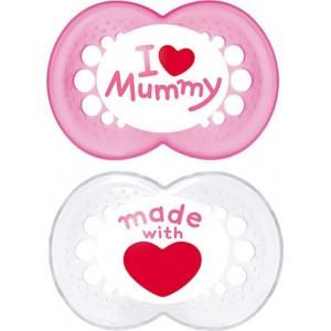 MAM, I Love Mummy & Daddy, Ορθοδοντική Πιπίλα Σιλικόνης, 6+m, 2τεμ Ρζ-Ασπρη