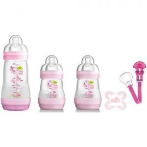 Mam Gift Set 0+ Σετ Δώρου 5 Προϊόντων Βρεφανάπτυξης για Νεογέννητα, 5 τεμάχια - Ροζ