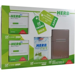 HERB Micro Filter 24 Πίπες & Herb Mints με Δώρο Ταμπακιέρα Αλουμινίου(Gold)