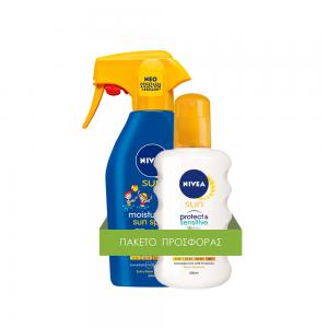 ΠΑΚΕΤΟ ΠΡΟΣΦΟΡΑΣ NIVEA SUN Kid's TRIGGER Spray SPF50 300ml - Αντηλιακό ενυδατικό Spray για παιδιά & NIVEA SUN Pure & Sensitive Spray SPF 50, 200ml