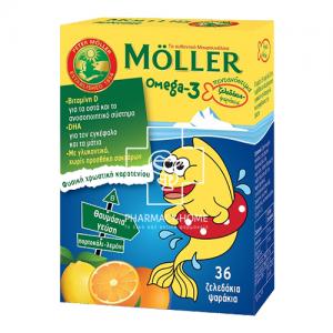 Moller's Ω3 Λιπαρά Οξέα Ειδικά Σχεδιασμένο για Παιδιά, με Γεύση Πορτοκάλι - Λεμόνι, 36 gummies