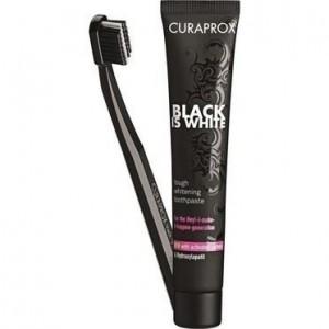Curaprox Πακέτο Προσφοράς Black Is White Λευκαντική Οδοντόπαστα 8ml + Οδοντόβουρτσα.