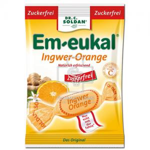 Em-eukal Καραμελες Χωρίς Ζάχαρη 75gr Τζίντζερ & Πορτοκάλι