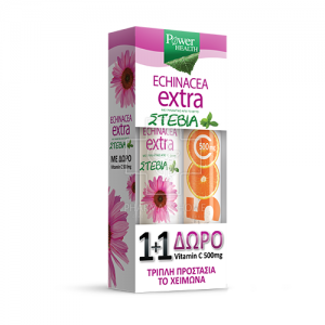 Power Health Echinacea Extra Συμπλήρωμα Διατροφής με Στέβια 24 Δισκία + Δώρο Vitamin C 500mg