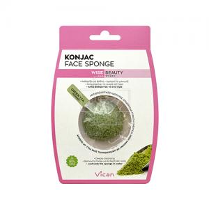 Konjac Face Sponge Σφουγγάρι Προσώπου με Σκόνη Πράσινου Τσαγιού 1 Τμχ.