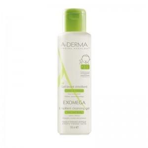 A-Derma Exomega Emollient Cleansing Gel. Καθημερινή Υγιεινή Για Το Ατοπικό Πολύ Ξηρό Δέρμα & Τα Μαλλιά Για βρέφη & Παιδιά 500ml