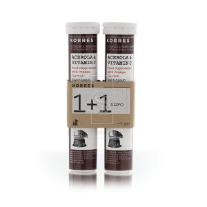 Korres Acerola & Vitamin C (1 + 1) ΔΩΡΟ, 20 αναβρ.δισκία Συμπλήρωμα Διατροφής με Ασερόλα & Βιταμίνη C
