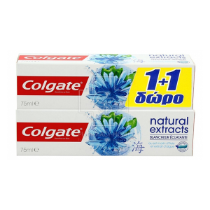 COLGATE 1+1 ΔΩΡΟ Natural Extracts Radiant White with Asian Seaweed Salt (2x75ml)