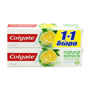 COLGATE 1+1 ΔΩΡΟ Natural Extracts Ultimate Fresh with Asian Lemon Oil & Aloe Extracts (2x75ml)