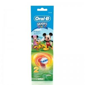 ORAL B - STAGES POWER Ανταλλακτικές Κεφαλές Παιδικής Οδοντόβουρτσας (Μίκυ & Μίνι) - 2τεμ.