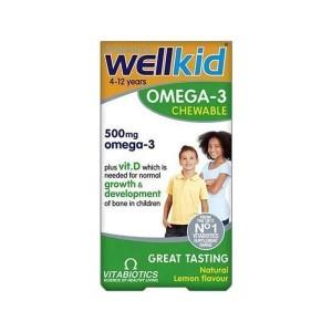 VITABIOTICS Wellkid Omega-3 Chewable 500mg, Συμπλήρωμα Διατροφής για Παιδιά με Γεύση Λεμόνι, 60 Μασώμενες Κάψουλες