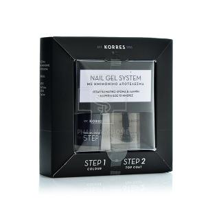 KORRES - Σετ Nail Gel System Βερνίκι Νυχιών Dark Mauve 10ml & Βερνίκι Νυχιών Top Coat 10ml