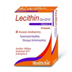 Health Aid Lecithin With Co-Q-10 Συμπλήρωμα Διατροφής 1000mg & Vit E 45iu 30caps.