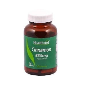 HEALTH AID CINNAMON 850mg Κανέλα για τον διαβήτη - 30 κάψουλες σε καφέ γυάλινο φιαλίδιο.