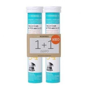 Korres Calcium & Vitamins D3 Συμπλήρωμα Διατροφής με Ασβέστιο και Βιταμίνη D3 2x18 Αναβράζοντα Δισκία.