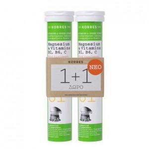 Korres Magnesium & Vitamins B1, B6, C Συμπλήρωμα Διατροφής με Μαγνήσιο και Βιταμίνες Β1, Β6, και C 2x18 Αναβράζοντα Δισκία.