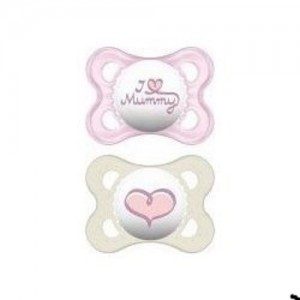 Mam I Love Mummy & Daddy Πιπίλα Για Νεογέννητα 0-6m ,Σιλικόνη, 2τμχ -115S Ροζ-Λευκο