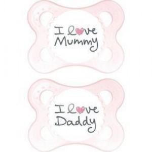 Mam I Love Mummy & Daddy Πιπίλα Για Νεογέννητα 0-6m ,Σιλικόνη, 2τμχ -115S Ροζ