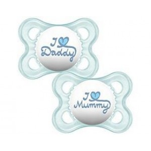 MAM, I Love Mummy & Daddy, Ορθοδοντική Πιπίλα Σιλικόνης, 6+m, 2τεμ Μπλε-Σιελ