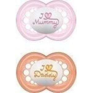 MAM, I Love Mummy & Daddy, Ορθοδοντική Πιπίλα Σιλικόνης, 6+m, 2τεμ ροζ-πορτοκαλι