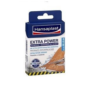 Hansaplast Extra Power, Αδιάβροχα, με έξτρα κολλητική ικανότητα,8 επιθέματα των 10cm x 6cm