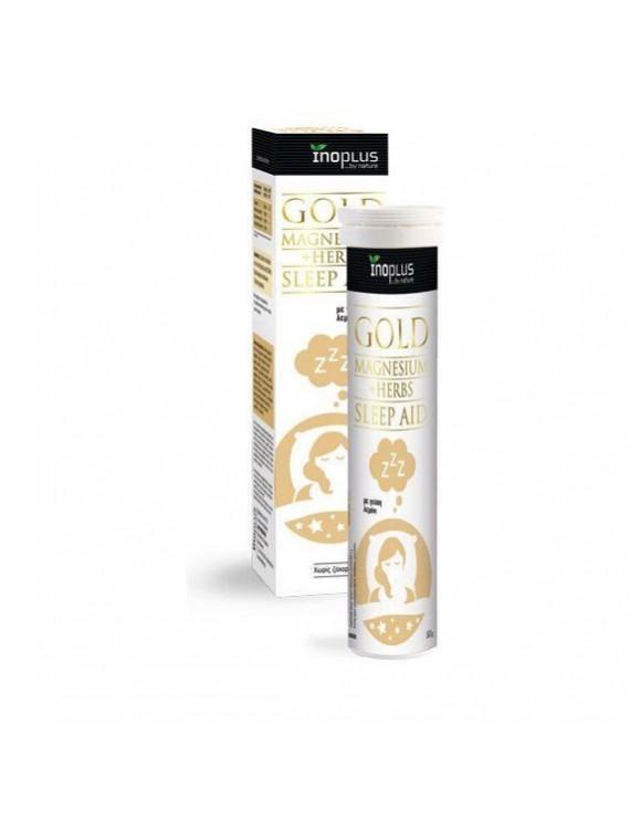 Inoplus Gold Sleep Aid, Συμπλήρωμα Διατροφής με Μαγνήσιο, Εκχύλισμα Χαμομηλιού, Πασιφλόρα και Μελισσόχορτο 20Αναβρ Δισκία