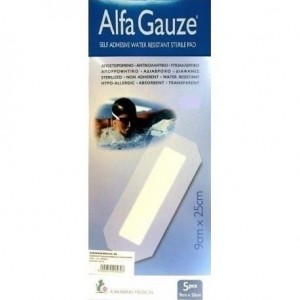 Alfa Gauze - Αποστειρωμένο αδιάβροχο αυτοκόλλητο επίθεμα 9cm x 25cm