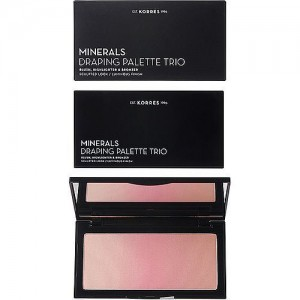 Korres Draping Palette Trio Pink Παλέτα με Ρούζ, Highlighter & bronzer, 1τμχ