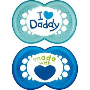 Mam I Love Daddy & Mummy Πιπίλες Σιλικόνης 6+ Μηνών 2τμχ