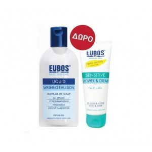Eubos Promo Liquid Washing Emulsion Blue, 200ml & ΔΩΡΟ Sensitive Shower & Cream, 100ml