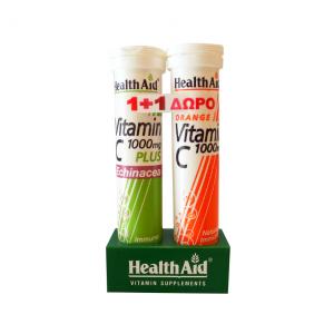 HealthAid Vitamin C 1000mg Plus Echinacea 20 Αναβράζοντα Δισκία & C 1000mg Πορτοκάλι 20 Αναβράζοντα Δισκία