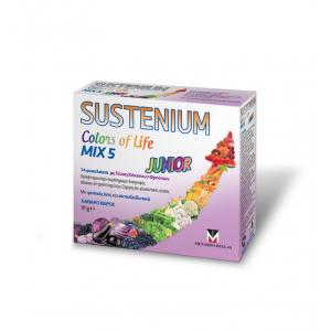 Menarini Sustenium Colors of Life Mix 5 Junior Παιδικό Πολυβιταμινούχο Συμπλήρωμα με Γεύση Κόκκινων Φρούτων 14 Φακελάκια