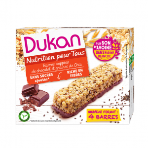 Dukan Expert Μπάρες βρώμης με επικάλυψη σοκολάτας & σπόρους Chia, 111gr