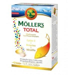 MOLLERS Total Ιχθυέλαιο + Μουρουνέλαιο Omega3 28Caps+28Tabs