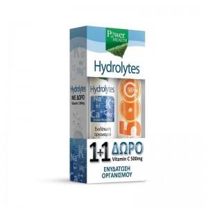 Power Health 1+1 ΔΩΡΟ με Hydrolytes 20 eff.tabs & μαζί Vitamin C 500mg Αναβράζουσα Βιταμίνη C με Γεύση Πορτοκάλι, 20 eff. tabs