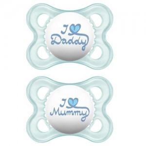 Mam Original 16+ Love Mummy & Daddy. Ορθοδοντική Πιπίλα Σιλικόνης. Γαλαζιο - Λευκο (265S)