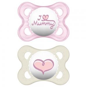 Mam Original 16+ Love Mummy & Daddy. Ορθοδοντική Πιπίλα Σιλικόνης. Ροζ - Λευκο (265S)