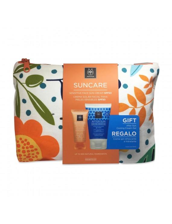 Apivita Set Suncare Sensitive Face Cream SPF50 50ml + Δώρο After Sun Cooling Cream-Gel με Σύκο & Αλόη 100ml