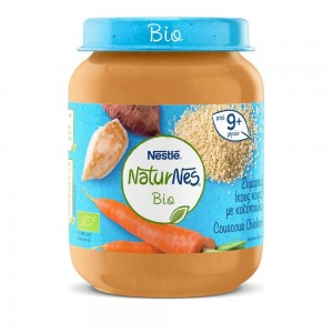 Nestle Naturnes Bio Βιολογικό Βρεφικό Γεύμα Ζυμαρικά (κους κους) με Κοτόπουλο 9 Μηνών+ 190gr