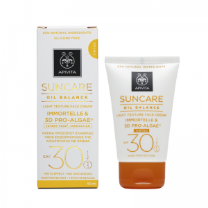 Apivita Suncare Oil Balance SPF30 Αντιηλιακή Κρέμα Προσώπου με χρώμα Ελαφριάς Υφής εξισορρόπησης της λιπαρότητας με Ελίχρυσο & 3D Pro - Alage, 50ml
