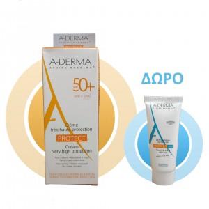 A-Derma Cream Protect SPF50+ Αντηλιακή Κρέμα Προσώπου για Κανονικό-Ξηρό Δέρμα Πλούσιας Υφής 40ml +Δώρο Protect AH Repairing Lotion After Sun 15ml. Προσφέρει υψηλή αντηλιακή προστασία για το κανονικό προς ξηρό εύθραυστο δέρμα.