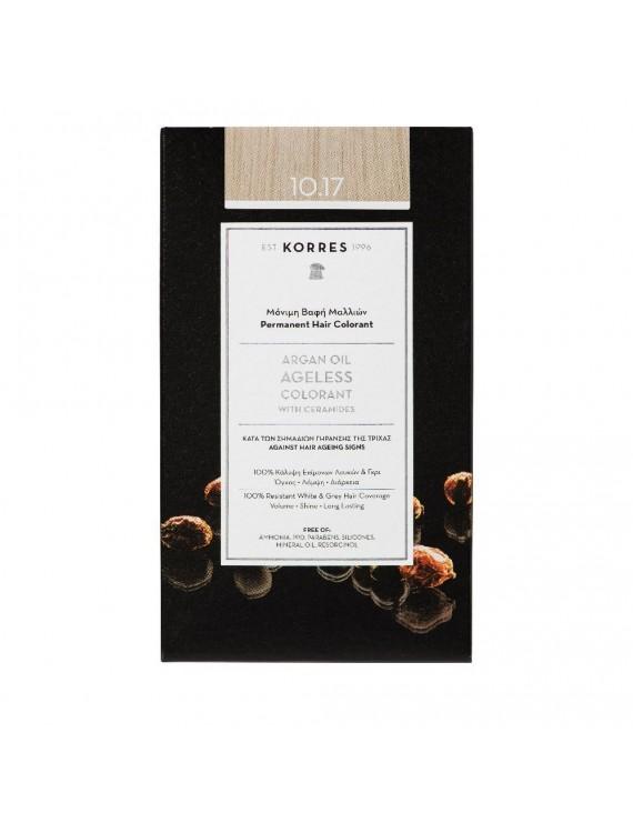 Korres Argan Oil Ageless Colorant Νο 10.17 Μονιμη Βαφη Μαλλιων Ξανθό Πλατίνας Μπεζ | 50ml