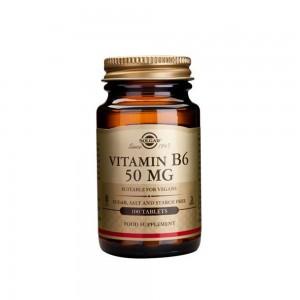 Solgar Vitamin B-6 50mg Προάγει τον Σχηματισμό των Ερυθρών Αιμοσφαιρίων 100 Tablets