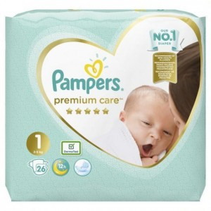 Pampers Premium Care Carry Pack No.1 (Newborn) 2-5 kg Βρεφικές Πάνες, 26 τεμάχια