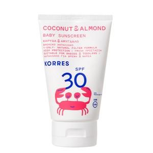 Korres Coconut & Almond Baby Sunscreen SPF30 Βρεφικό Αντηλιακό Καρύδα & Αμύγδαλο με Υψηλή Προστασία για Πρόσωπο & Σώμα, 100ml