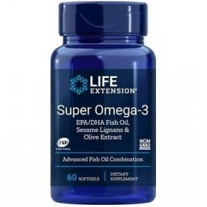 Life Extension SUPER OMEGA-3 EPA/DHA with sesame lignans and olive fruit extract Ευεργετικά Ιχθυέλαια με Αντιγηραντική δράση 60 softgels