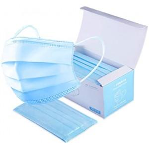 Μάσκες Face Mask Χειρουργικές μιας χρήσης 3ply με Λάστιχο - Μπλε Χρώμα (50 ΤΕΜ)